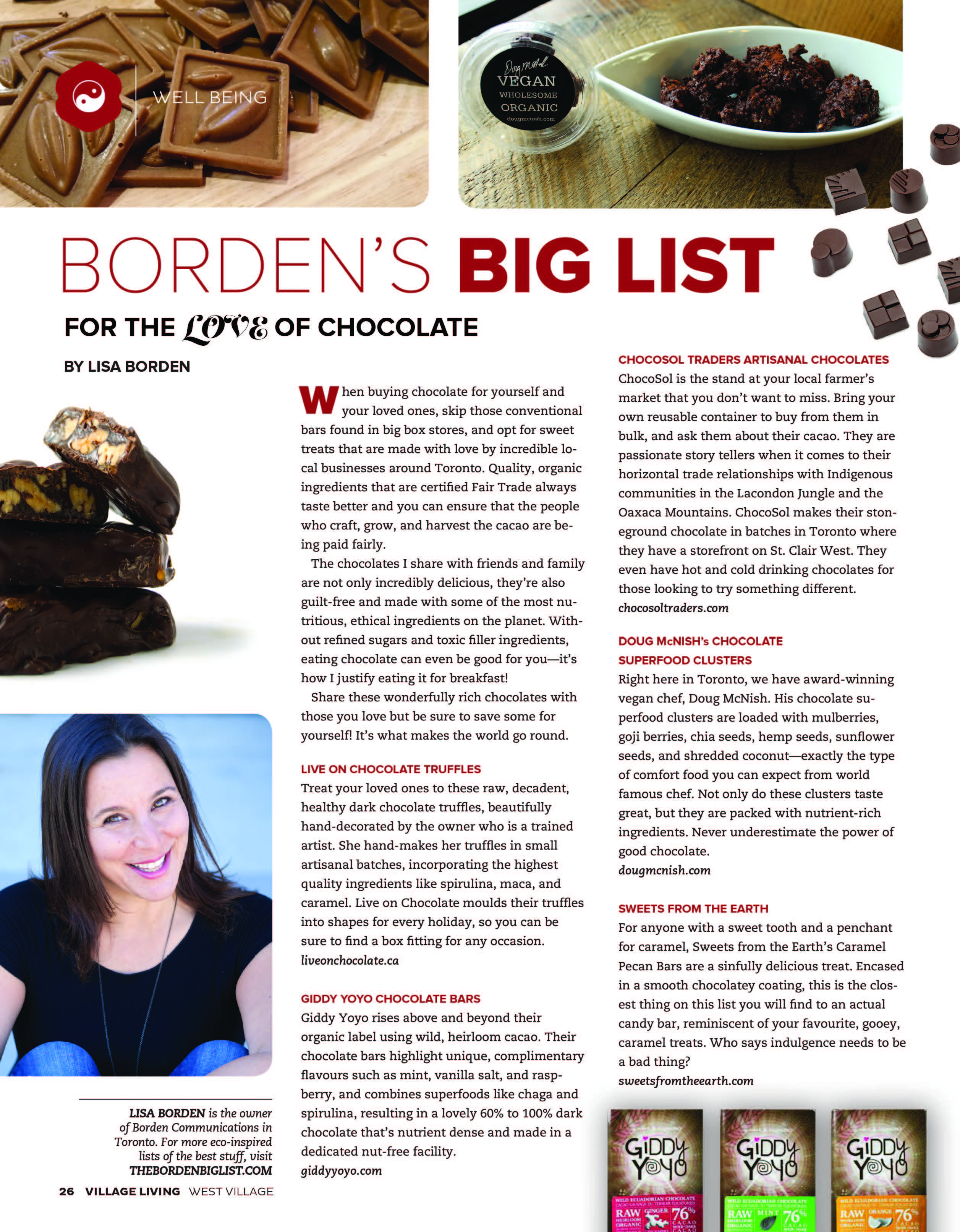 For The Love Of Chocolate, Village Living Magazine