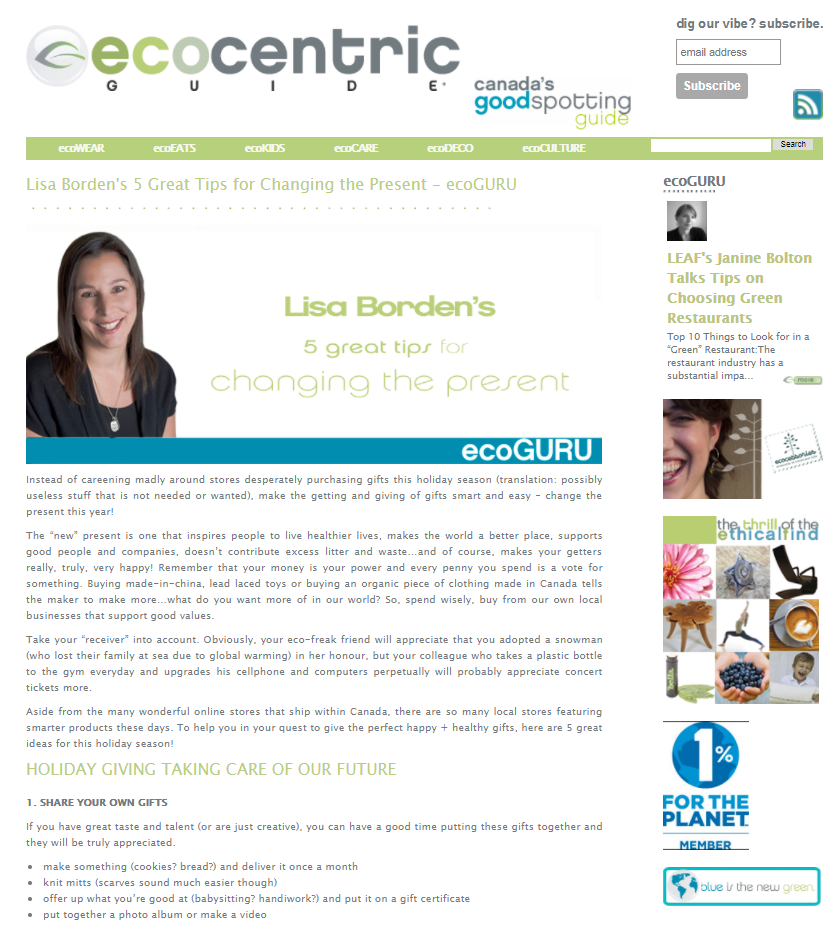 Lisa Borden's 5 Great Tips for Changing the Present, ecoGURU