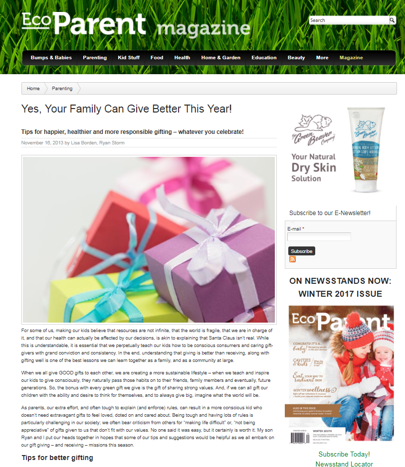 Yes, Your Family Can Give Better This Year!, EcoParent Magazine