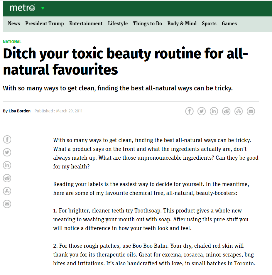 Ditch your toxic beauty routine for all-natural favourites, Metro