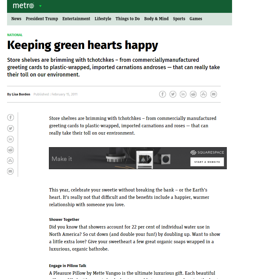 Keeping green hearts happy, Metro