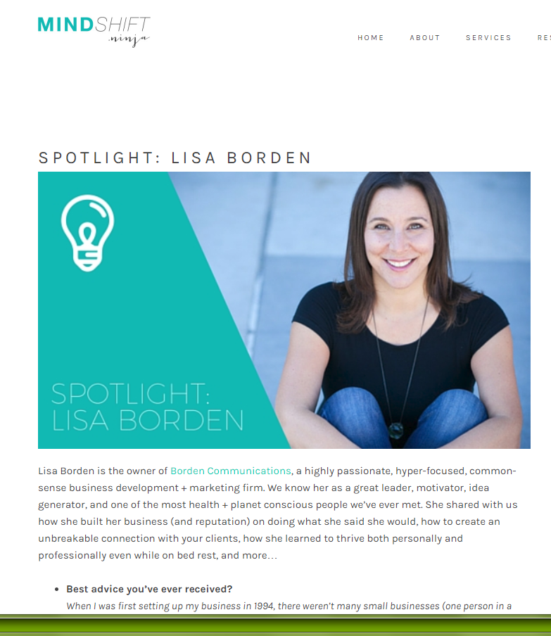 SPOTLIGHT: LISA BORDEN, MINDSHIFT NINJA