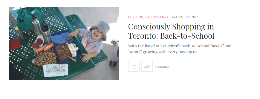 Consciously Shopping in Toronto: Back-to-School