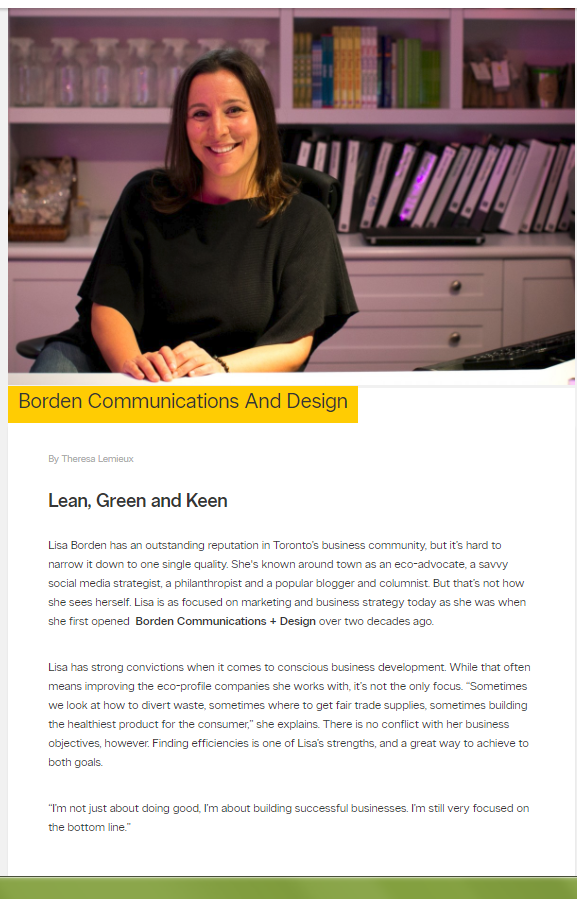 Lean, Green and Keen, yellowpages.ca