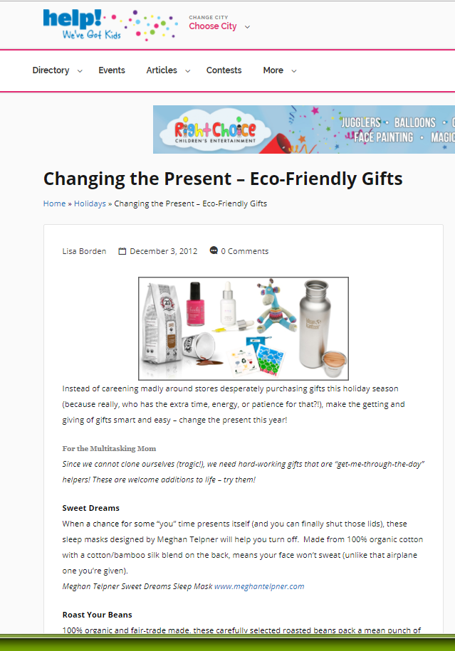 Changing the Present – Eco-Friendly Gifts, Help We've Got Kids