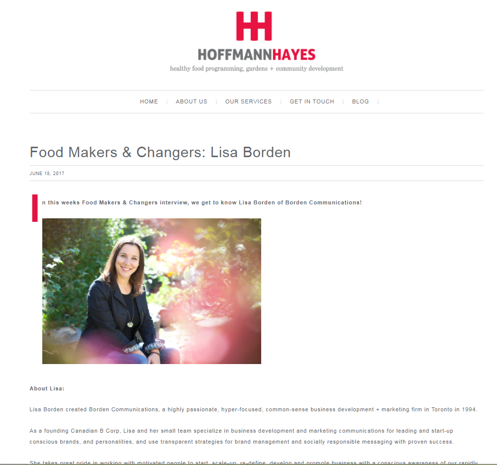 Food Makers & Changers: Lisa Borden, Hoffmann Hayes