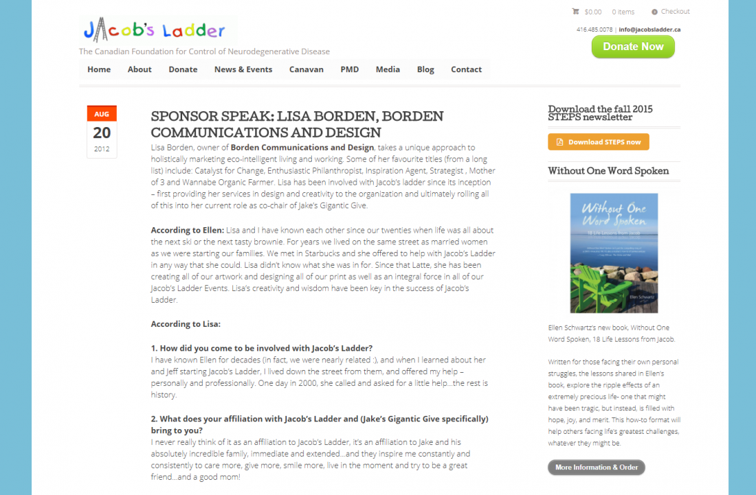 SPONSOR SPEAK: LISA BORDEN, Jacob's Ladder