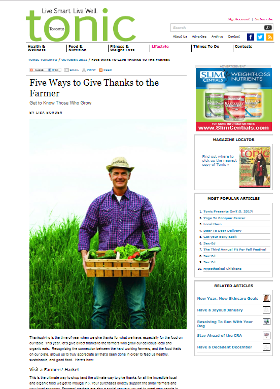Five Ways to Give Thanks to the Farmer, Tonic