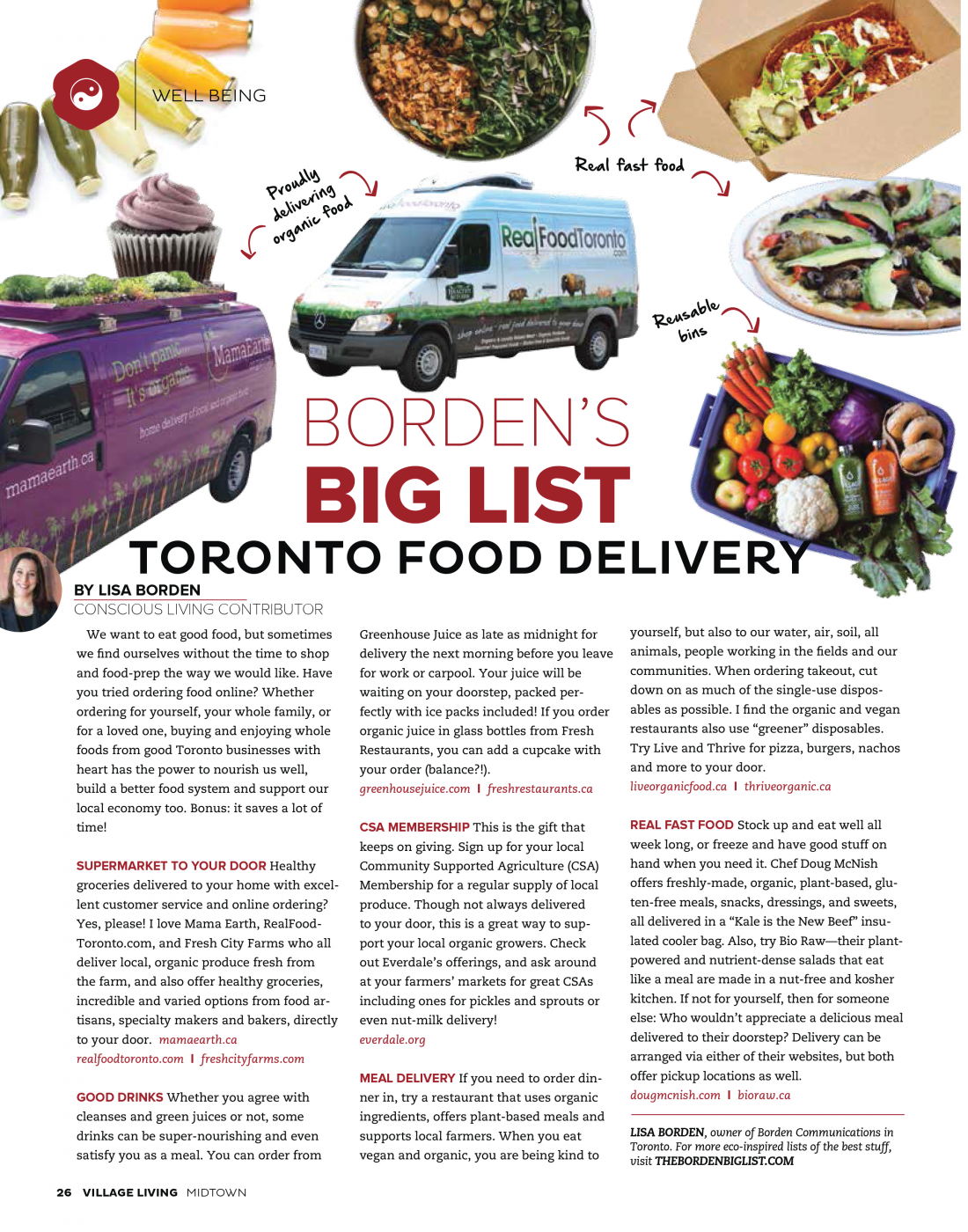 Toronto Food Delivery, Village Living Magazine